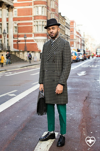 Martell Campbell; Style Expert; Blogger; Bailey of Hollywood hat; Paul Smith coat; Paul Smith shirt; Paul Smith trousers; Oliver Sweeney shoes; vintage bag;