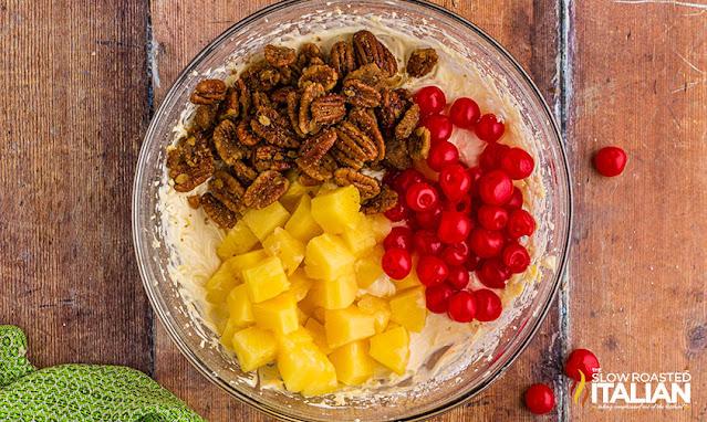 Pineapple Upside Down Cheesecake Salad divided ingredients