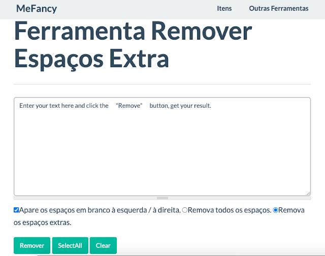 Ferramenta online para remover espaços extras em um texto