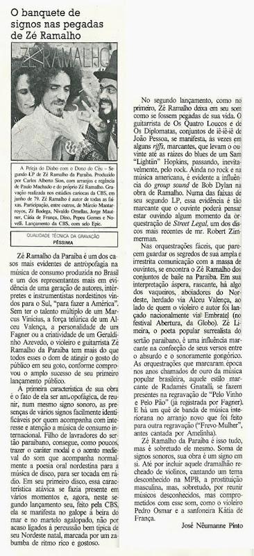 Zé Ramalho - O banquete de signos nas pegadas de Zá Ramalho - Somtrês 1979-10