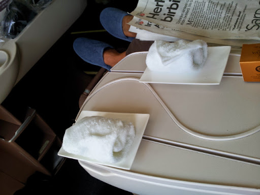 Hot towels to freshen up. From What's It Really Like to Fly Turkish Airlines Business Class?