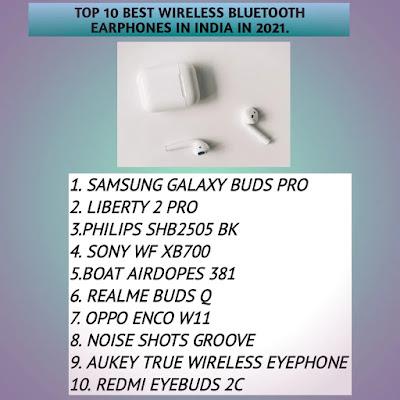 Top 10 best wireless bluetooth earphones in India in 2021.