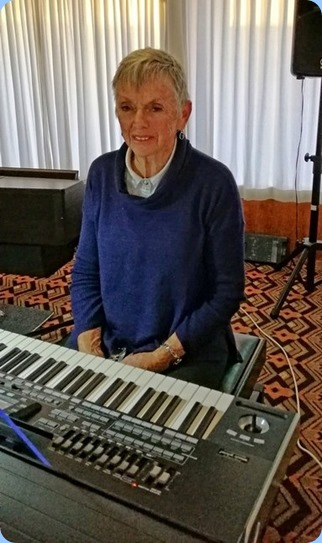 Jeanette Harding playing her Korg Pa3X. Photo courtesy of Dennis Lyons.