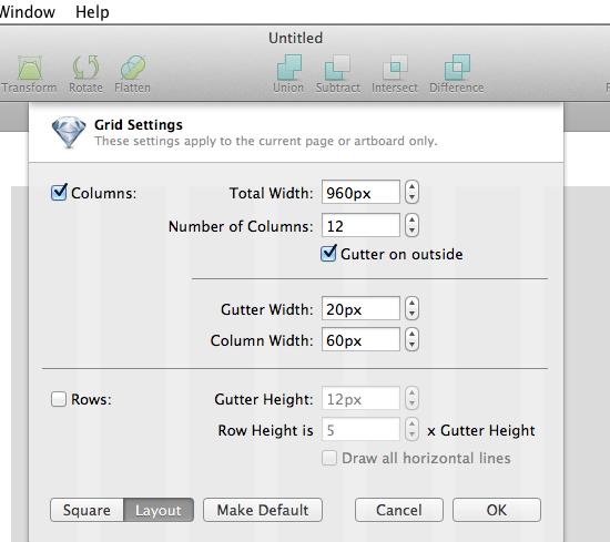 設定は簡単で、View → Gridsettingsでlayoutに変更しましょう。