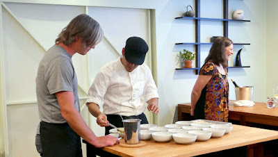 Chef Ryan Roadhouse plating a course of SupHardCore on May 29 2016 at Nodoguro while to the left is Mark Wooten and right Elena Roadhouse, his right and left hand peoples making Nodoguro happen so smoothly