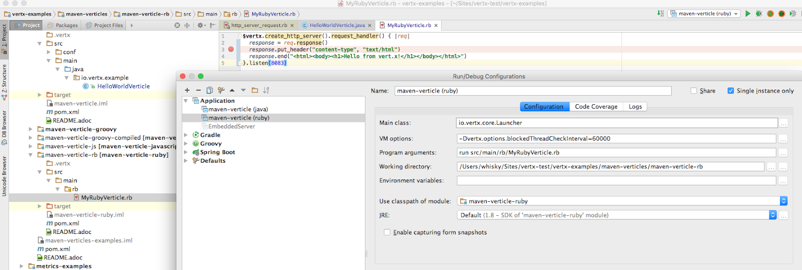Debugging vert x Ruby verticle in IntelliJ - someone succeeded