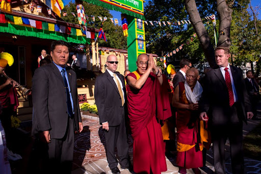 His Holiness the Dalai Lama outside of Kukukulla Center with Geshe Tenley, Medford, Massachusetts, U.S., October 2012. Photo by Kadri Kurgun.