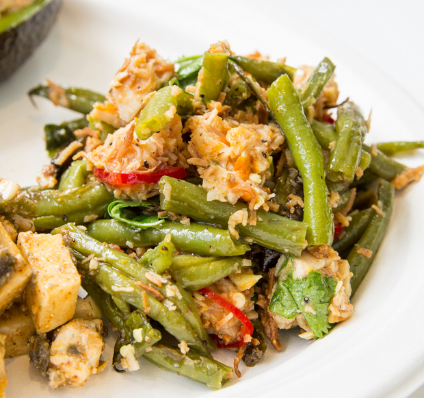 close-up photo of pineapple chicken and green beans
