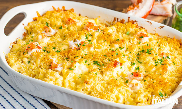 lobster mac and cheese in casserole dish