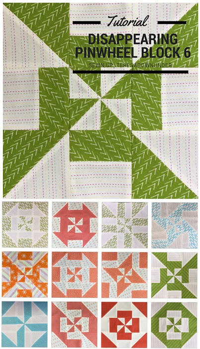 Block 6: Disappearing pinwheel sampler quilt