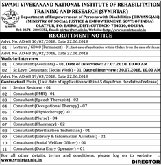 SVNIRTAR Notification 2018 www.indgovtjobs.in