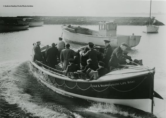 Thomas Kirk Wright, launching from what was then known as Poole and Bournemouth Lifeboat Station