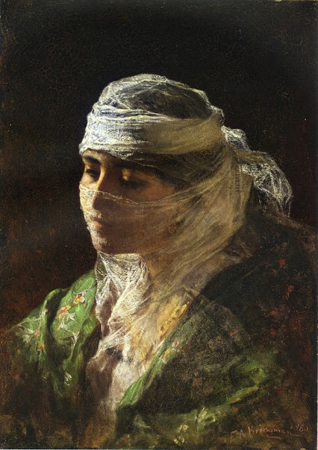 Frederick Arthur Bridgman - A veiled beauty of Constantinople.