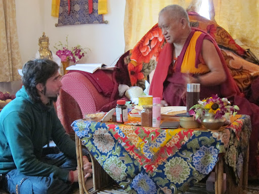 Osel speaking with Lama Zopa Rinpoche in Bodh Gaya Jan 2012