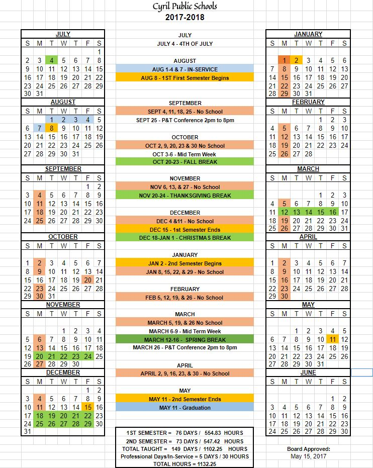 Yearly Calendar 2017-2018 - CyrilSchools - yearly calendar