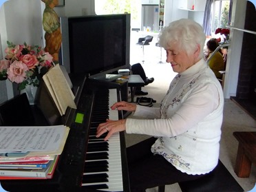 Audrey Henden playing the Clavinova. Photo courtesy of Dennis Lyons.