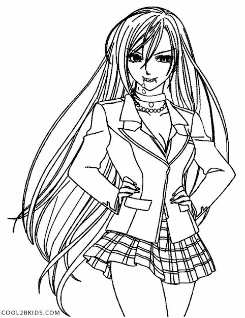 Anime Vampire Girl Coloring Pages   Bgcentrum