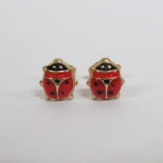 14K Gold & Enamel Ladybug Earrings