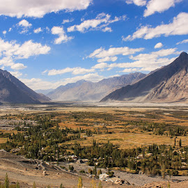 N U B R A  V A L L E Y . . . by Anuvab Ghosh - Landscapes Travel ( natural beauty, beauty, eos, focus, cold, clouds, india, canon, tourist, beautiful, amazing, mountain, trip, road, buddha, cottage, sunny, ladakh, himalaya, sky, wide angle, famous, natural, nature, tree, photo, wonderful, beauty in nature, buddhism, tour, outdoor, awesome, attraction, pixoto, daylight, cloudscape, valley, travel, desert, photography, landscape )