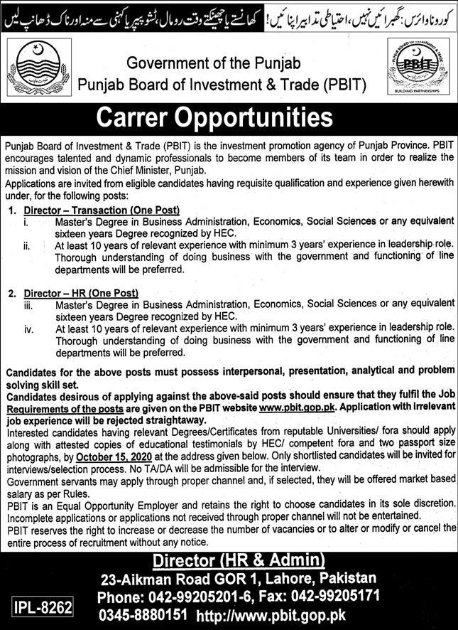 Punjab Board of Investment and Trade PBIT Jobs September 2020
