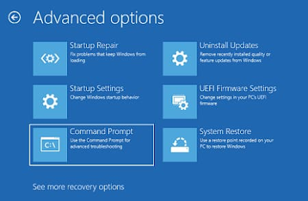 command prompt option for repair Registry Files