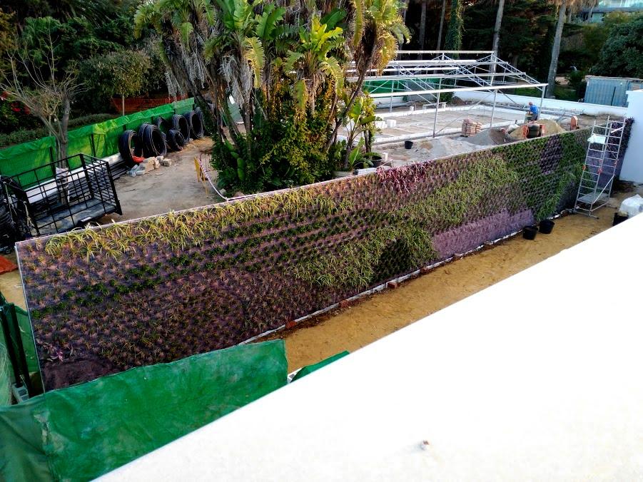 Jardín vertical en Cádiz durante el proceso de construcción