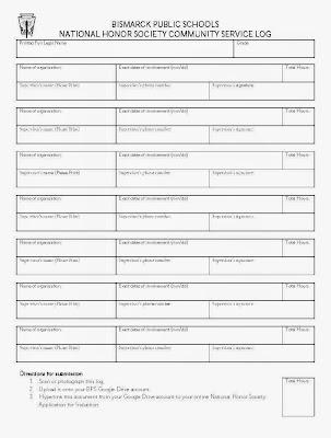 Community Service Log and Signature Verification Form - Bismarck