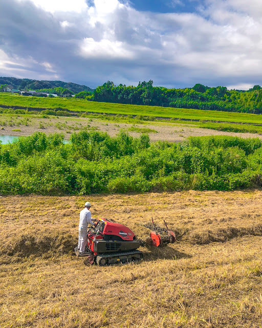 雑草を刈りまとめる機械は赤