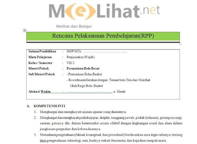 RPP PENJASORKES/PJOK SMP-MTs Kurikulum 2013 Kelas VII-7 Terbaru