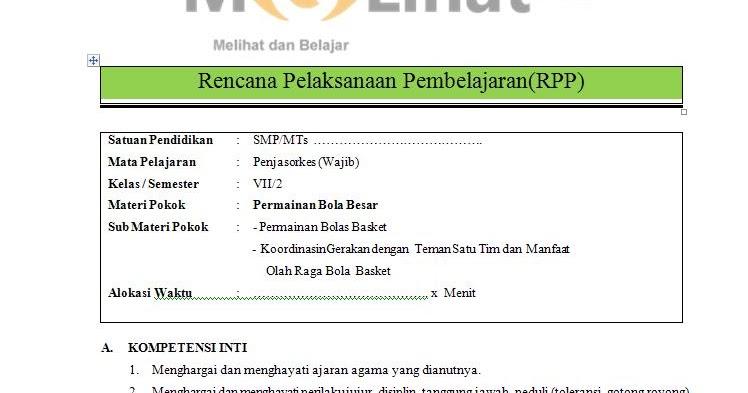 Rpp Penjasorkes Pjok Smp Mts Kurikulum 2013 Kelas Vii 7 Terbaru Filenya