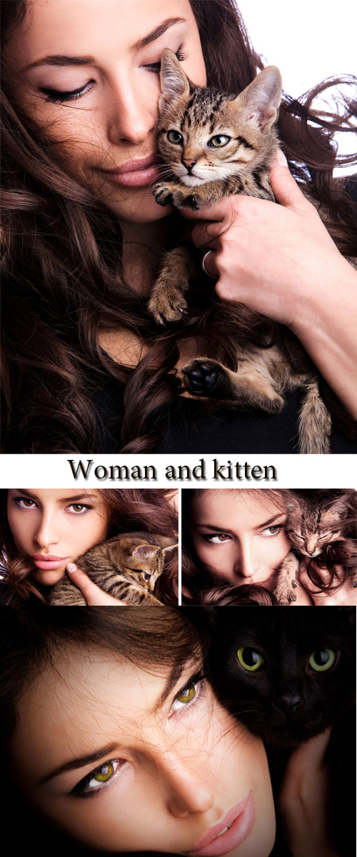 Stock Photo: Woman and kitten