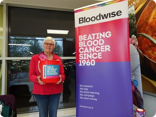 Bloodwise volunteer Fiona Crompton  collects at Tesco Extra Crewe