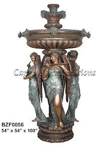 Angel, Bronze, Fountain, Musicians, Statue, Women