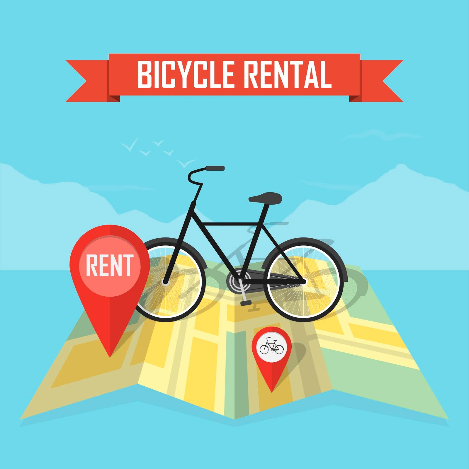 Vector Bike Rental Map Background Free Download Vector CDR, AI, EPS and PNG Formats