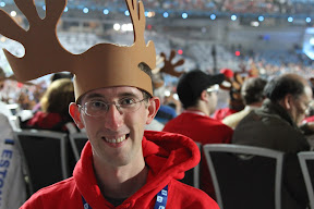 Me with my moose antlers at the Closing Ceremony