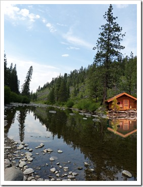 Truckee River with photoshoped cabin