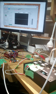 Tibi's setup, getting ready to test the piezo driver made by Frederic (building on Jonathan's work)