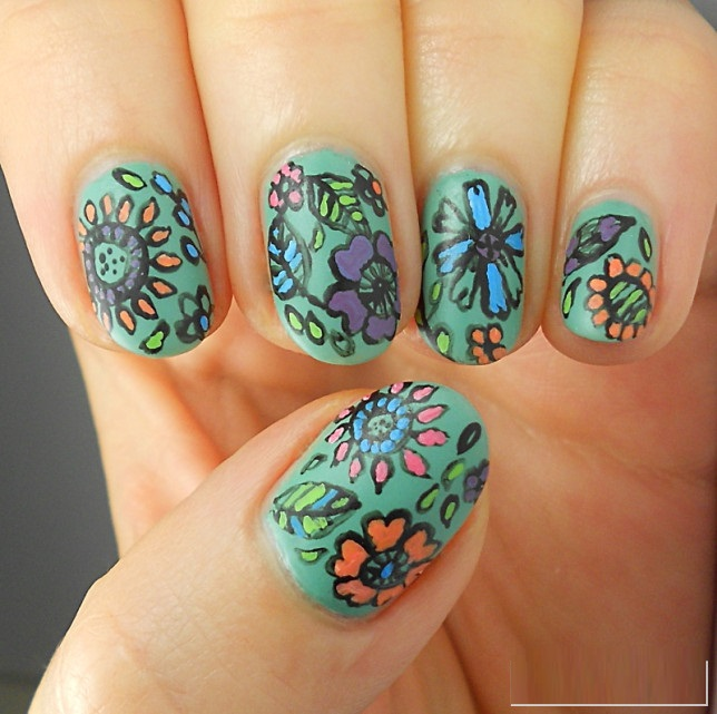 Hand Painted Nail Art Designs: Effortless Free Hand Painted Nail Art Designs For 2017