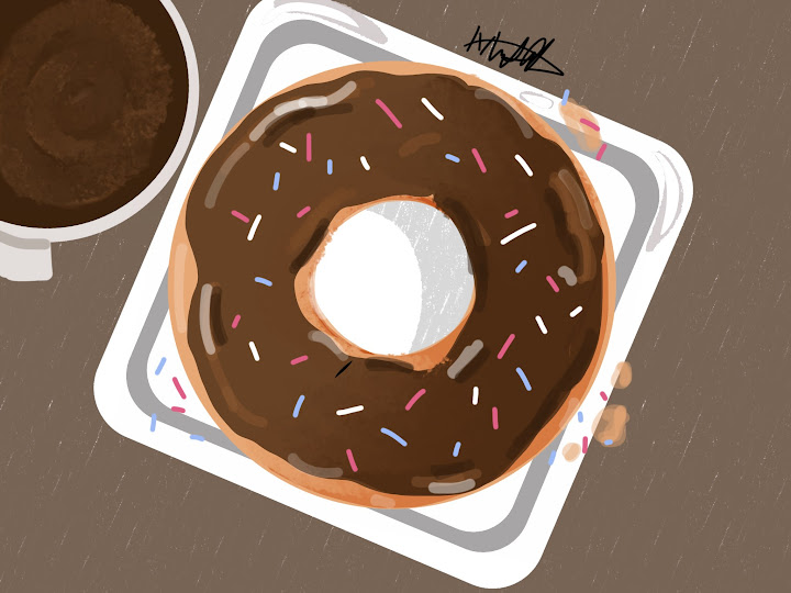 Donut and Coffe made with Sketches