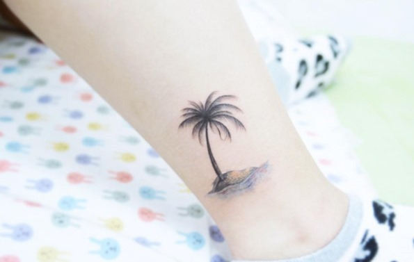 Este solitário palm em uma ilha