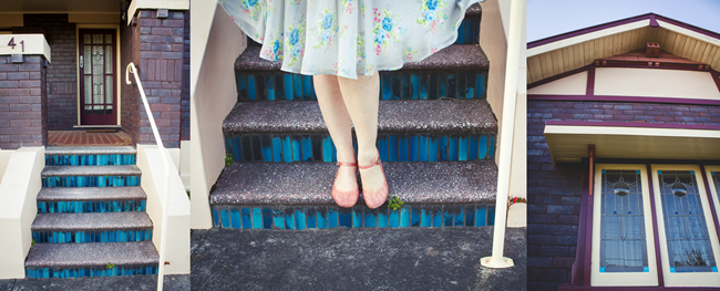 Blue Stairs, Blue Rose Hell Bunny Dress | Lavender & Twill