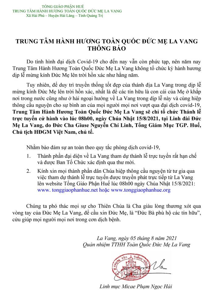 Thông báo về Thánh Lễ trực tuyến tại La Vang ngày 15.8.2021
