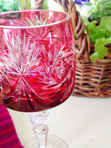 Cut crystal colored goblets, spring tablescape,