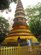 Photo: The stupa/chedi. Another great place to meditate (see dog napping picture).