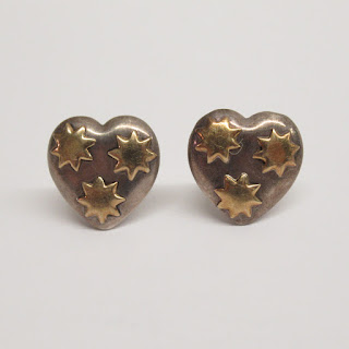 18K Gold and Sterling Silver Heart Clip Earrings