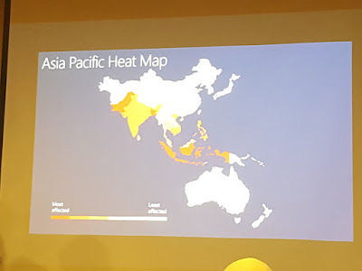 The Asia Pacific heat map shows which countries are most affected by malware (darker colours), and which are least affected (lighter colours).