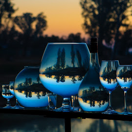 Wonders  by Stefan Klein - Artistic Objects Still Life ( glasses, sunrise, reflections, still life, river,  )