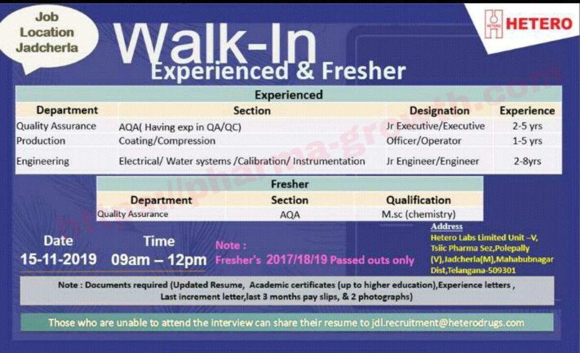 Hetero – Walk in interview for Quality Assurance, Production, Engineering – Fresher & Experience Candidates on 15th Nov' 2019