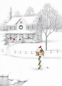 Winter house christmas card