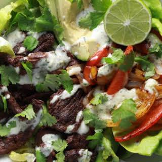 Steak Fajita Salad with Creamy Cilantro-Lime Dressing.